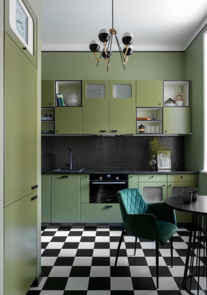 пол в оливковой кухне