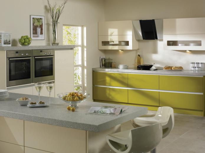 фисташковые фасады для кухни