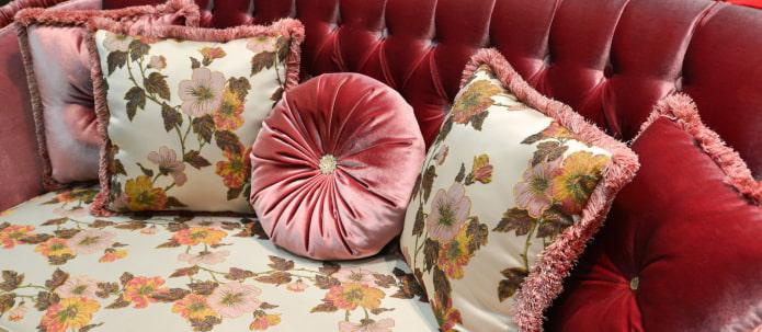 подушки на велюровый диван