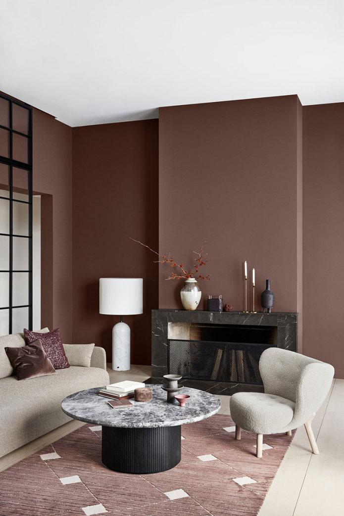 коричневые стены в интерьере