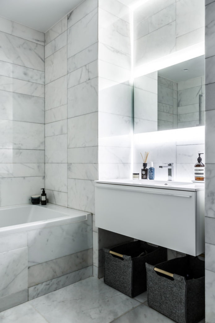 белый мрамор в ванной