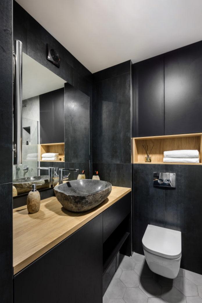 черная ванная под камень