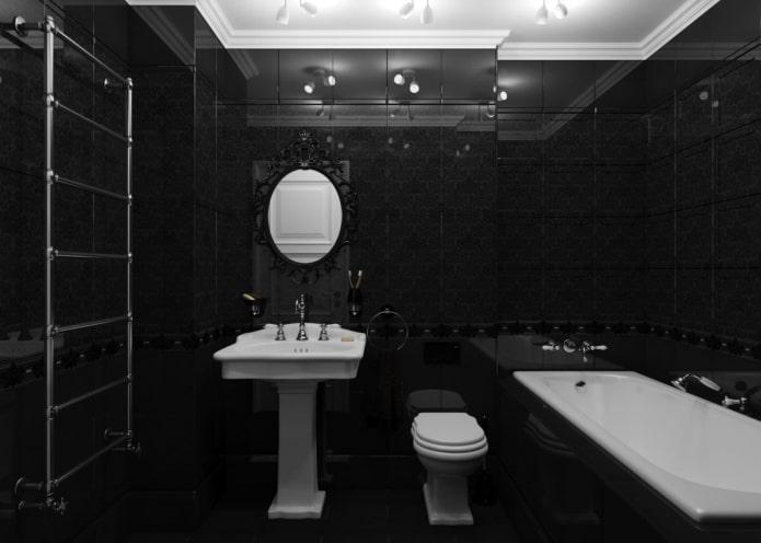 полностью черная ванная