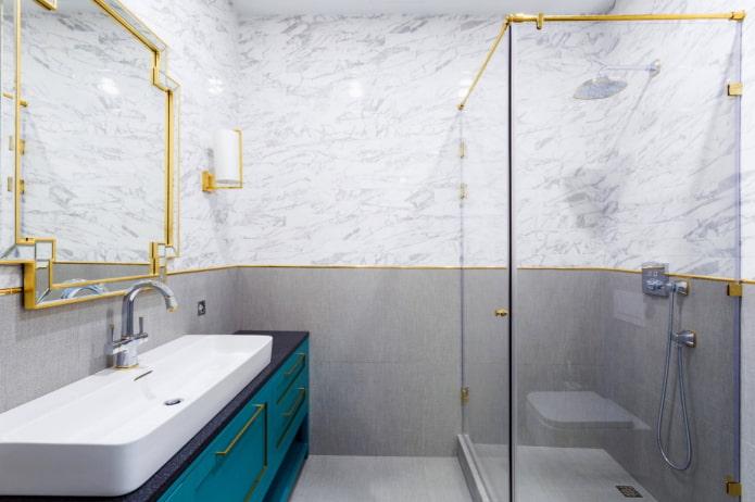золотые акценты в ванной