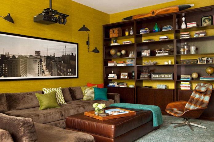 Горчичный цвет в интерьере (51 фото): сочетания идеи дизайна