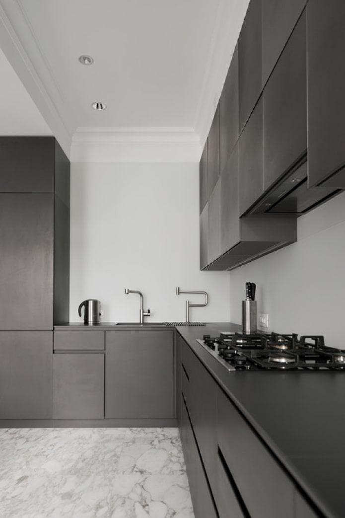 минималистичная кухня с газом