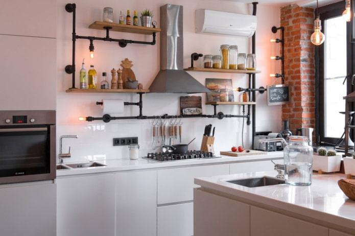 белая кухня в стиле лофт