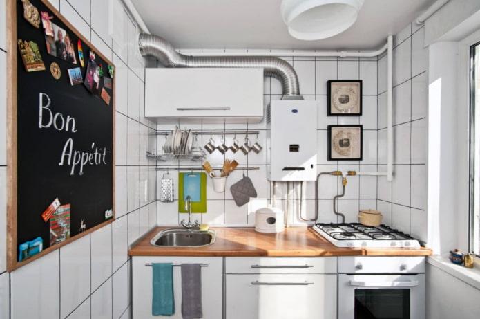 кухня в стиле сканди с газом
