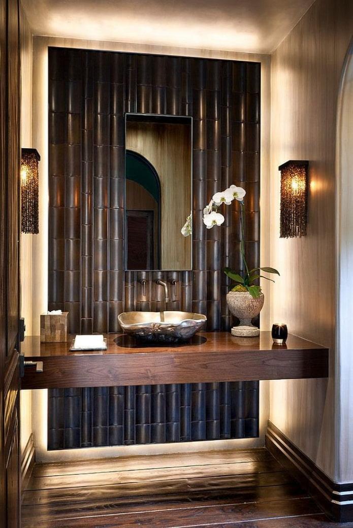 бамбуковая стена в ванной