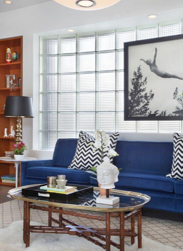 стеклоблоки в гостиной