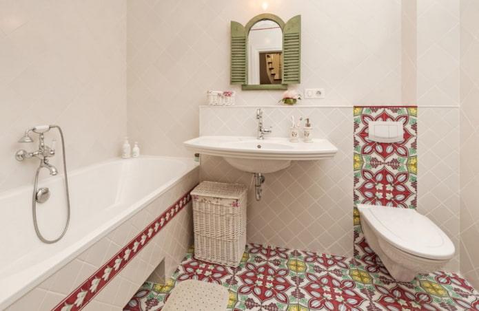 цветной пол в ванной комнате