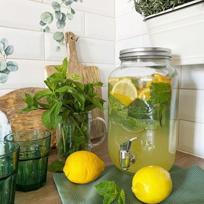 Лимоны, мята, лимонад