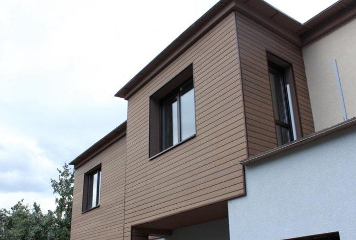 отделка фасада дома террасной доской