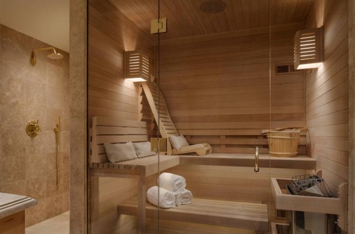 деревянная баня в современном стиле