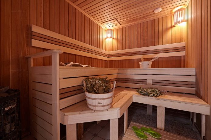 современная отделка бани