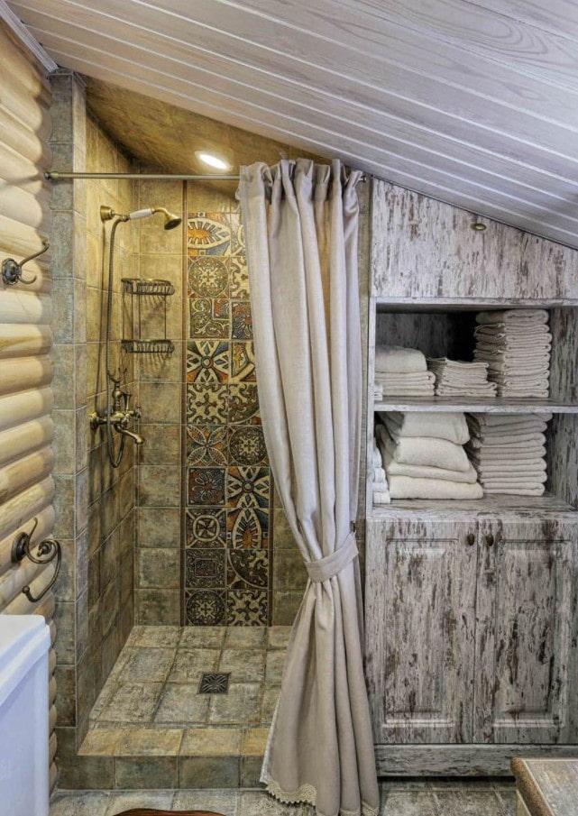 плитка в отделке душевой в бане