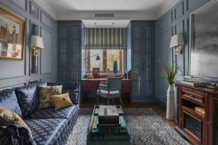 гостиная в голубых оттенках