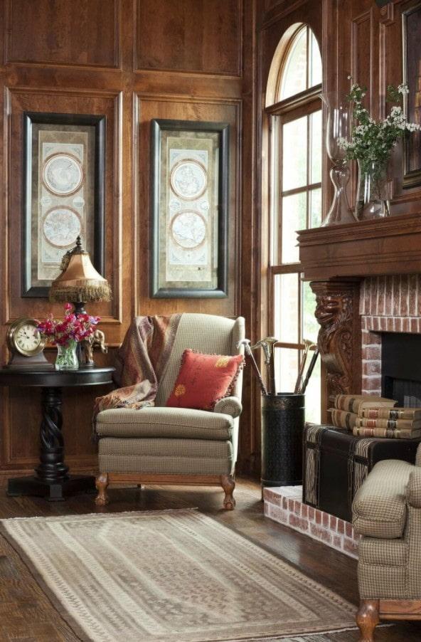 деревянные стены в гостиной
