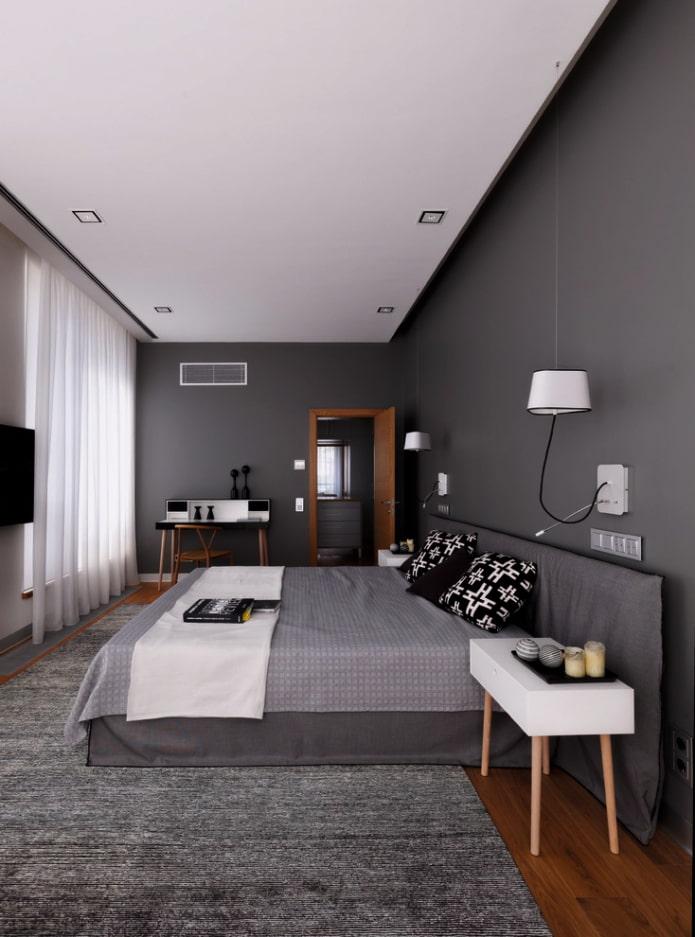 Спальня в землисто-сером оттенке