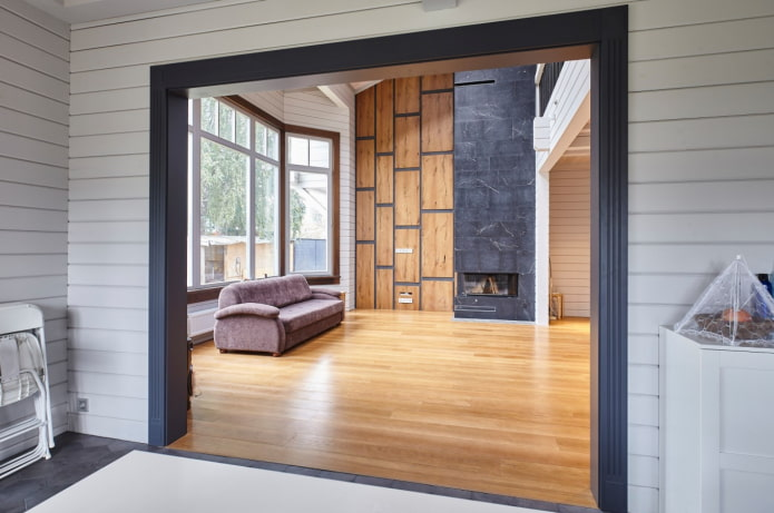 деревянные панели в гостиной