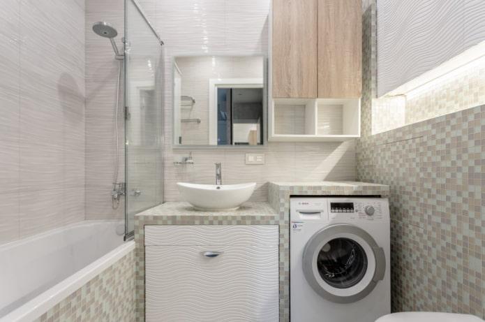 stalviršis virš skalbimo mašinos vonios kambaryje