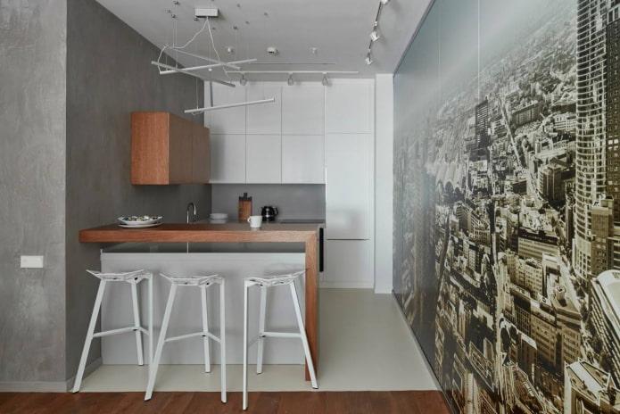 3D-обои в маленькой серо-белой кухне
