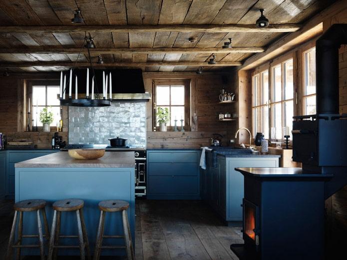 темно-синяя матовая кухня