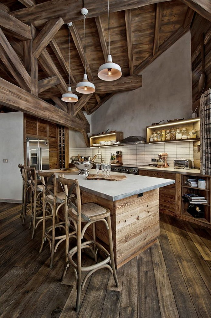 кухня с островом в частном доме