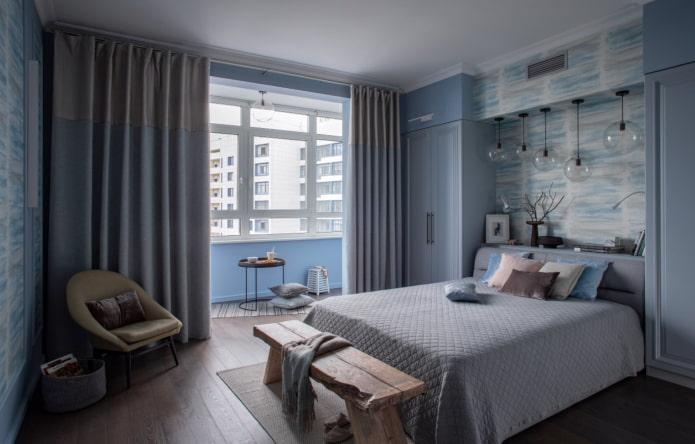 голубая спальня с балконом