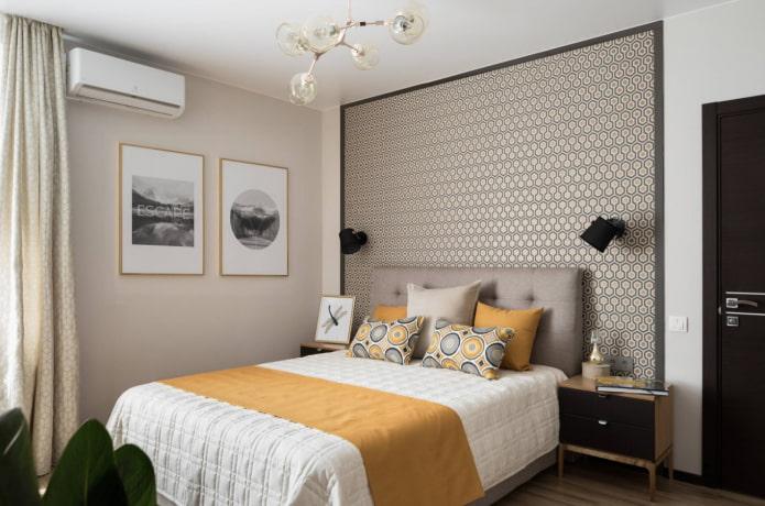 спальня с желтыми акцентами