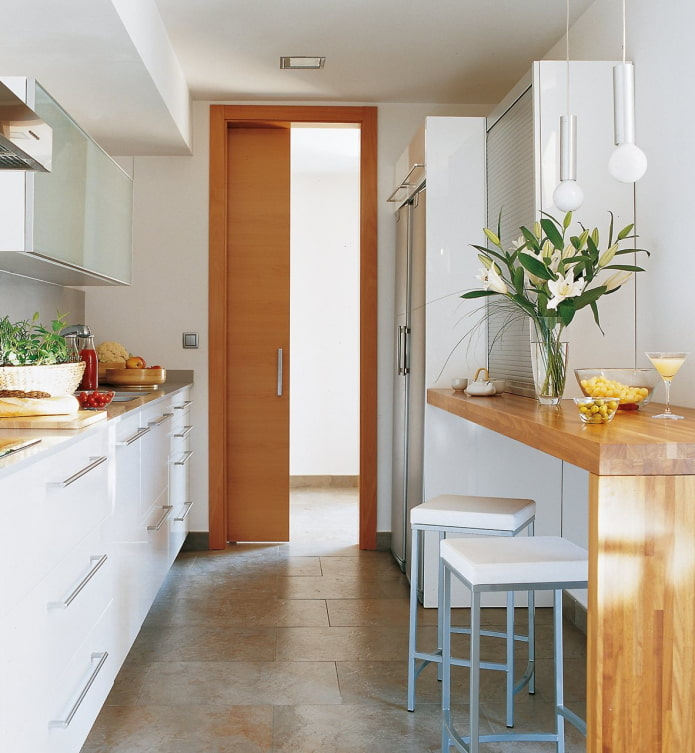 линейная планировка кухни