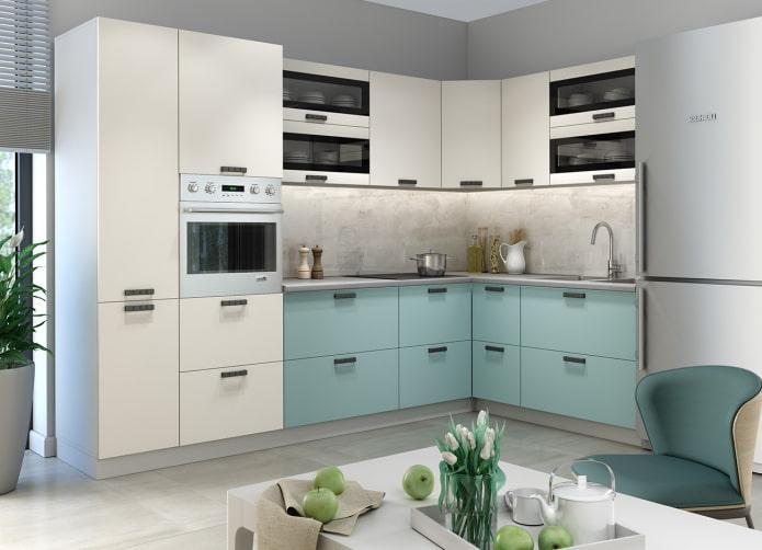 бело-бирюзовый кухонный гарнитур