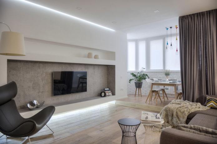 зонирование столовой и гостиной
