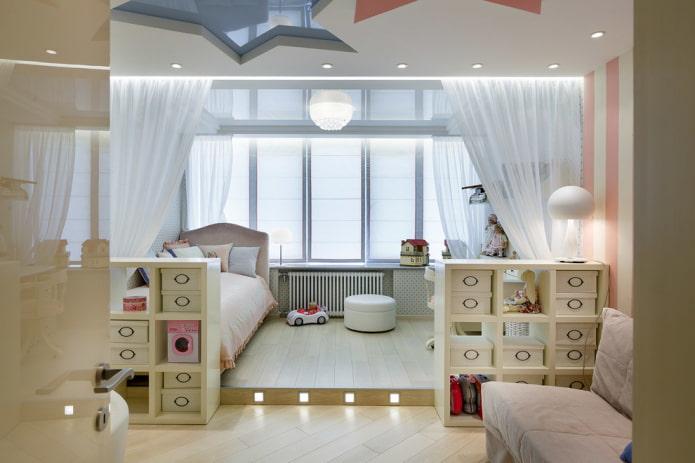 подиум с подсветкой в комнате для девочки