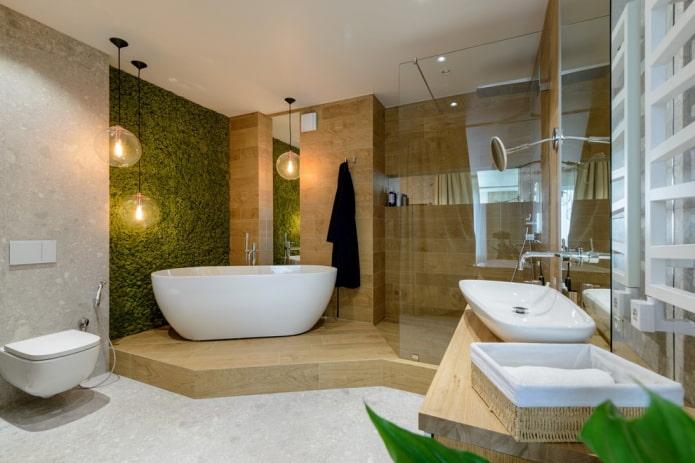 просторная ванная в эко-стиле
