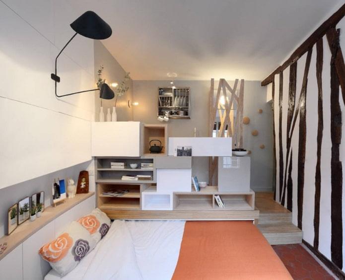 интерьер квартиры-студии с выдвижной кроватью