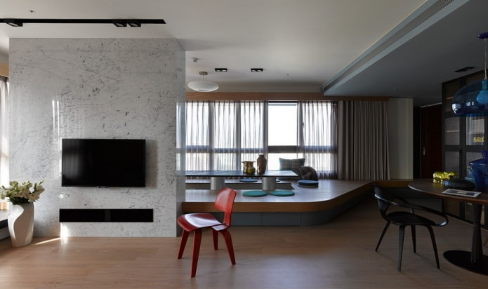 Подиум в квартире: современные идеи, 70 фото в интерьере комнат