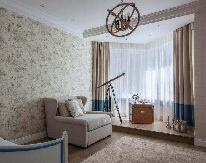 уютная комната для мальчика с выделенной зоной возле окна