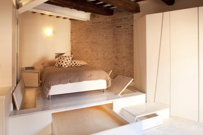 компактная спальня в стиле лофт