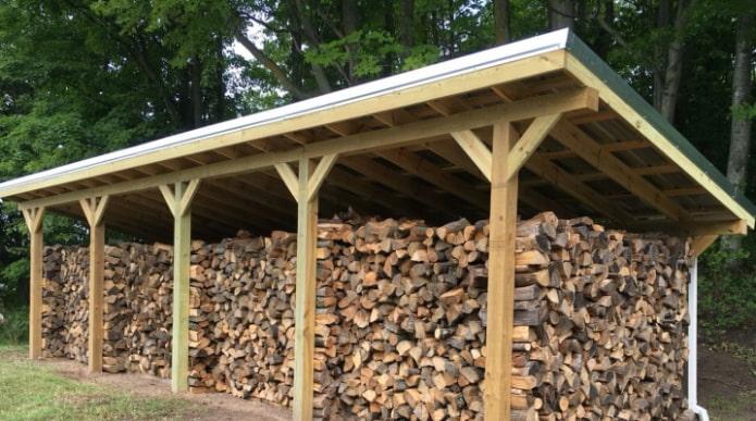 дрова под навесом