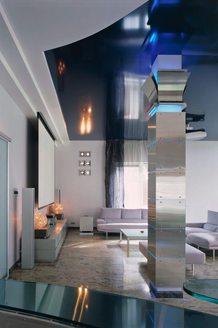 металлическая колонна с подсветкой в гостиной