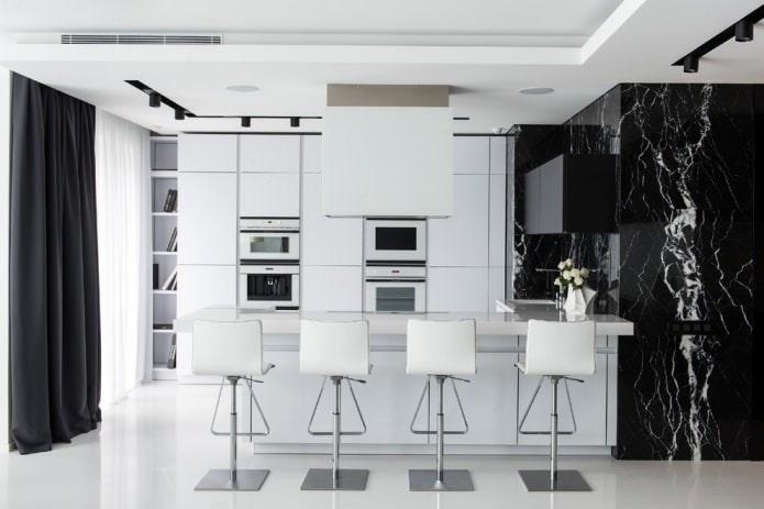 черно-белая современная кухня