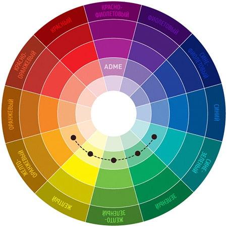 сочетание аналогичных цветов