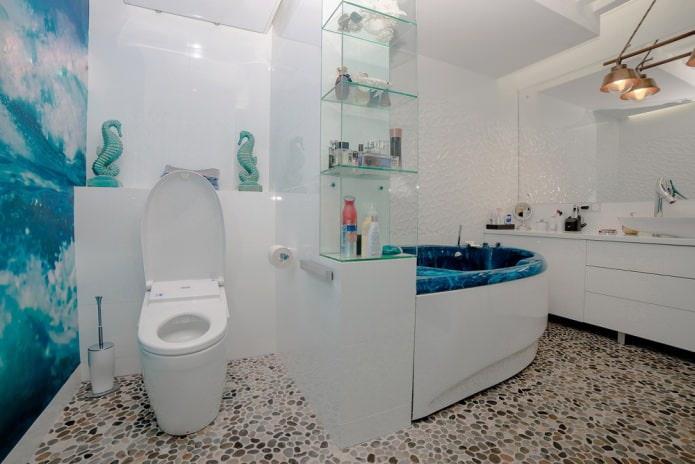 пол в ванной из мелких камней
