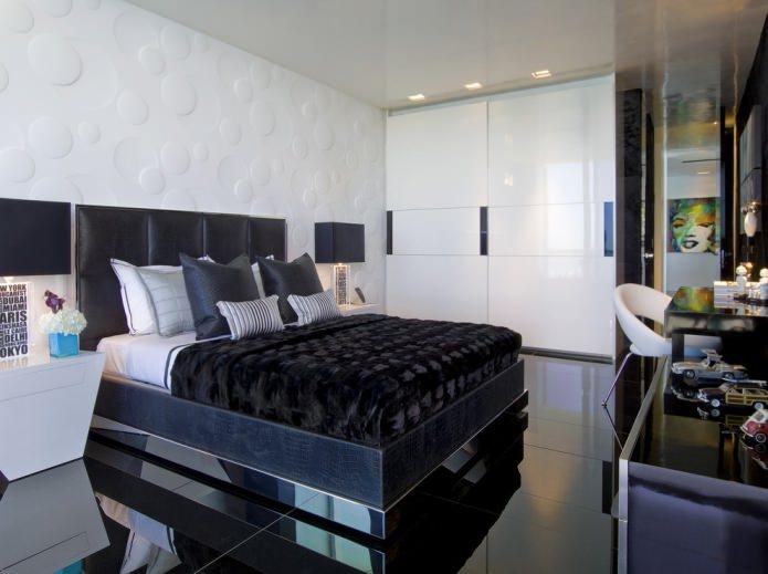 глянцевый пол в спальне