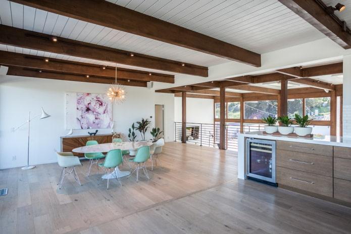 Интерьер с балками на потолке: 90 современных фото и идей декорирования