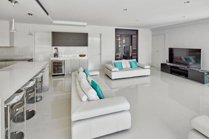 Белый пол и белый потолок