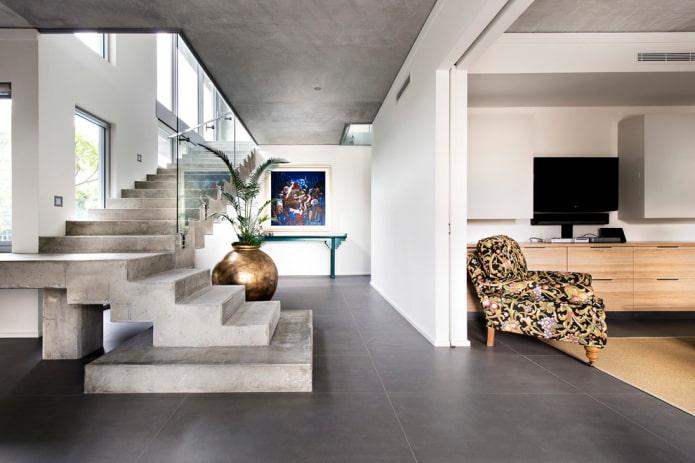 лестница из бетона в интерьере дома