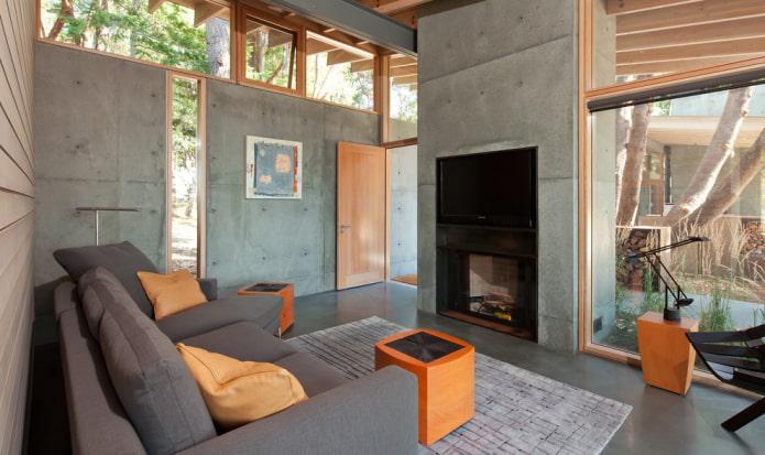 бетонные стены в загородном доме
