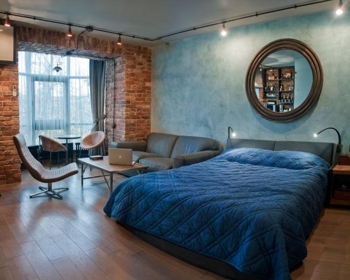 кирпич и бетон в спальне